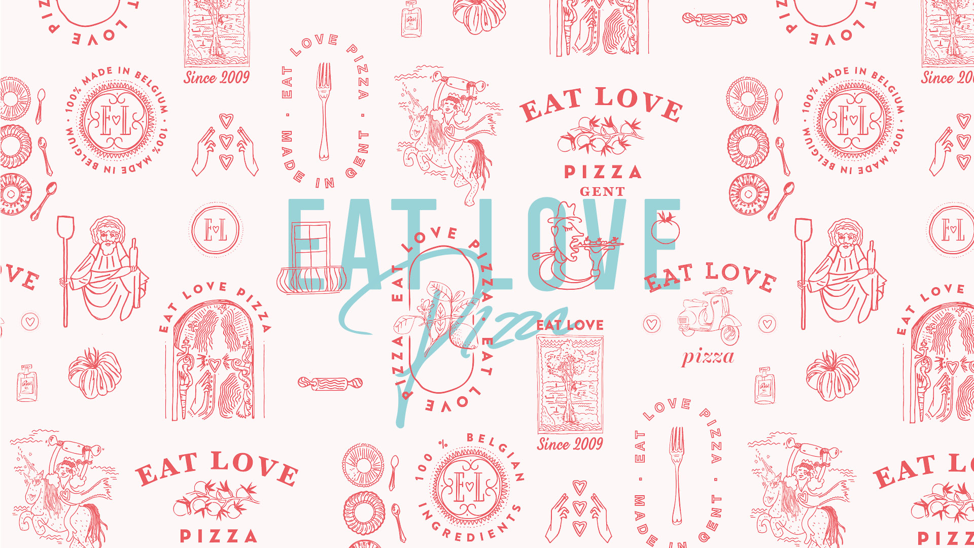 Eat Love Pizza Patroon